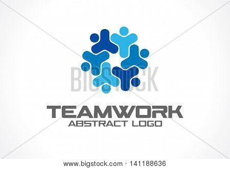 Abstract logo for business company. Corporate identity design element. Teamwork, Social Media Logotype idea. People connect, segments compound in cogwheel, partnership concept. Colorful Vector icon