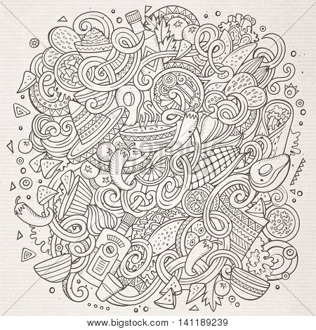 Cartoon cute doodles hand drawn Mexican food illustration. Line art detailed, with lots of objects background. Funny vector artwork. Sketchy picture with Mexico cuisine theme items