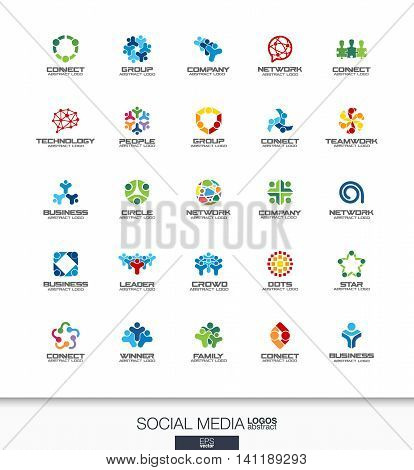 Abstract logo set for business company. Corporate identity design elements. Network, social media and internet concepts. People connect, subscriber, follower logotype collection. Colorful Vector icons