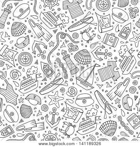 Cartoon cute hand drawn nautical, marine seamless pattern. Line art vintage detailed, with lots of objects background. Endless funny vector illustration.