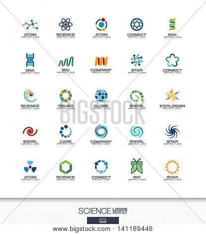 Abstract logo set for business company. Corporate identity design elements. Science, education, physics and chemical concepts. Dna, atom, molecule, bio logotype collection. Colorful Vector icons