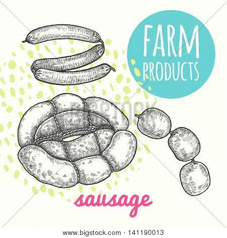 Vector illustration of farmer's sausage product. Style hand-drawing sketch. Farm product isolated on white background. Modern design for signage posters advertising farm shops markets packaging.