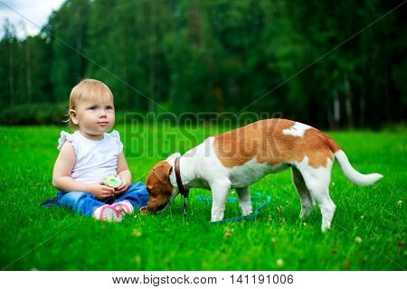 baby with a dog outdoor on a summer day