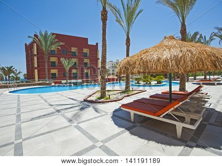 Swimming Pool In Luxury Tropical Hotel Resort