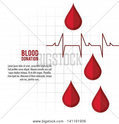 drop pulse cardio blood donation icon. Colorfull and flat illustration. Vector graphic