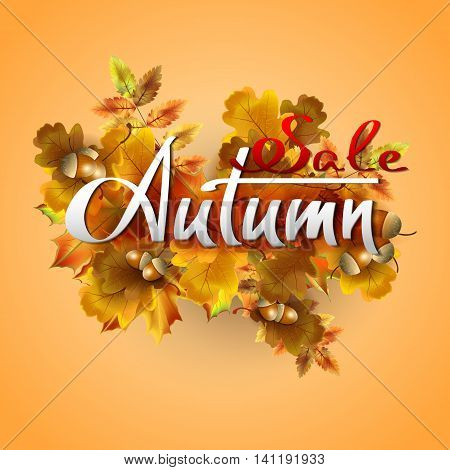 Autumn vector background with autumn leaves and acorns. Sale. Hand-written lettering. Typography