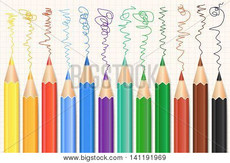 Colorful Colored Pencils set. Realistic pencils. Vector illustration