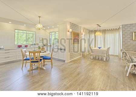 Classic Kitchen and Dinner Room  Interior Design
