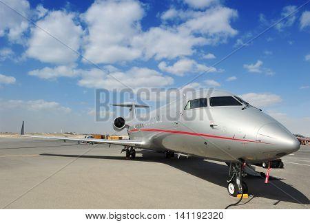 SAKHIR KINGDOM OF BAHRAIN - JANUARY 21: Executive Jet at Sakhir Airbase during the 2nd Bahrain International Airshow 19-21 Jan 2012 in Bahrain.