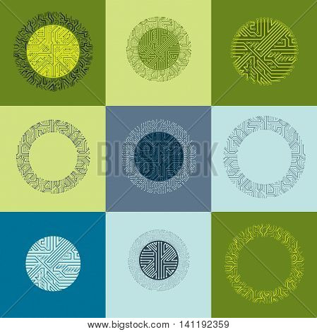 Vector Circuit Board Circles, Digital Technologies Abstractions. Set Of Computer Microprocessor Sche