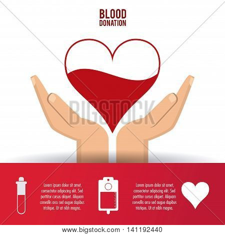 heart liquid arm hand blood donation icon. Colorfull and flat illustration. Vector graphic