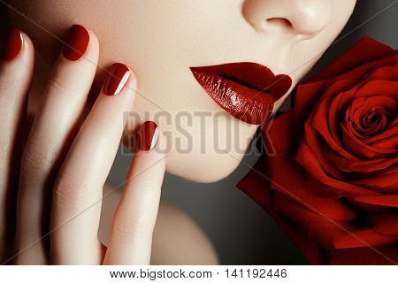 Beauty Fashion Model Woman Face. Portrait With Red Rose Flower.