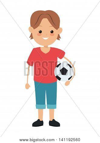 flat design boy holding soccer ball icon vector illustration