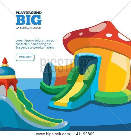 Vector illustration of inflatable castles and children hills on playground. Pictures for your personal design project with place for your text. Cover design