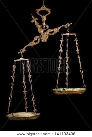 Antique weighing scale on black background. Justice, making decisions, true and false, fair and unfair concept.