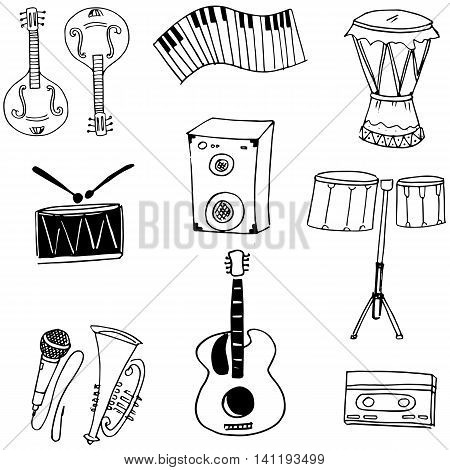 Collecetion stock music doodles hand draw illustration