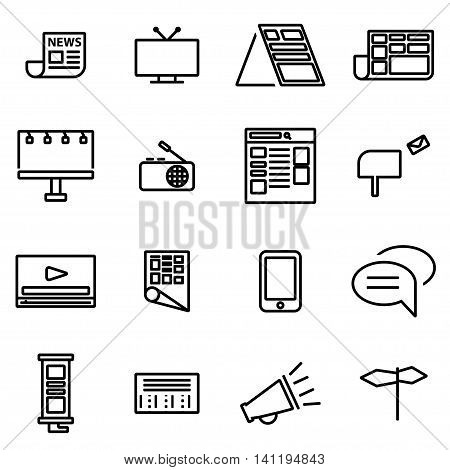 Vector line advertisement icon set on white background