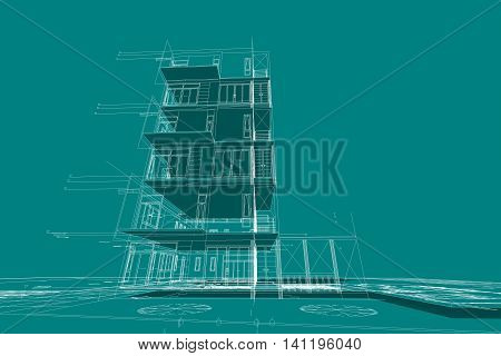 architecture abstract, building structure 3d illustration frame work