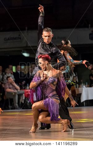 Wroclaw, Poland - May 14, 2016: An Unidentified Dance Couple Dancing Latin Dance During World Dance