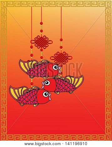 Chinese New Year auspicious fish ornament on red background