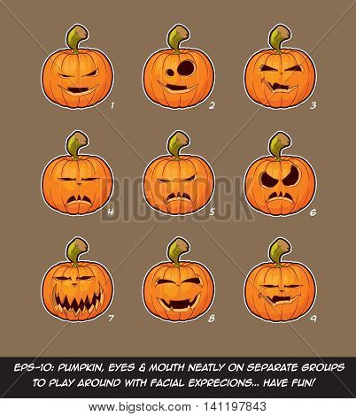Jack O Lantern Cartoon - 9 Vampire Expressions Set