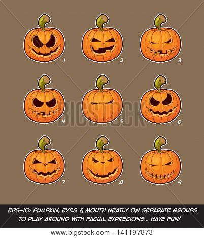 Jack O Lantern Cartoon - 9 Mean N Naughty Expressions Set