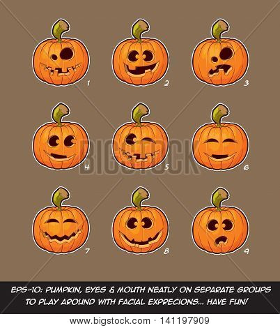 Jack O Lantern Cartoon - 9 Funny N Goof Expressions Set