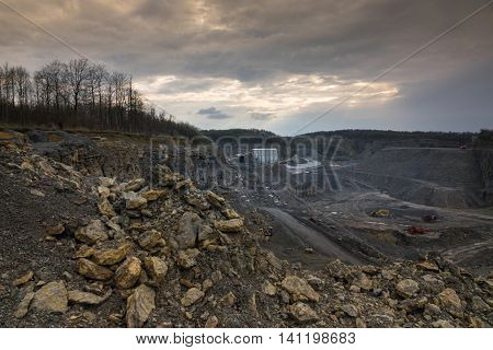 Crushed stone factory in a quarry.