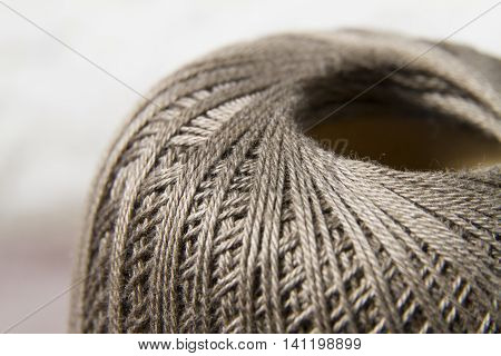 Cotton thread clew close up horizontal view
