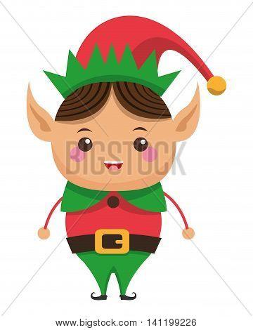 flat design happy cute christmas elf icon vector illustration