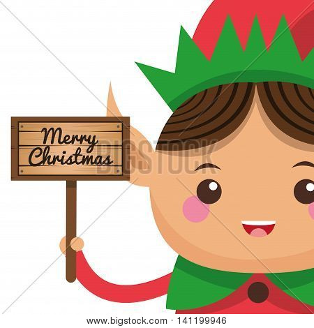 flat design happy cute christmas elf holding sign icon vector illustration