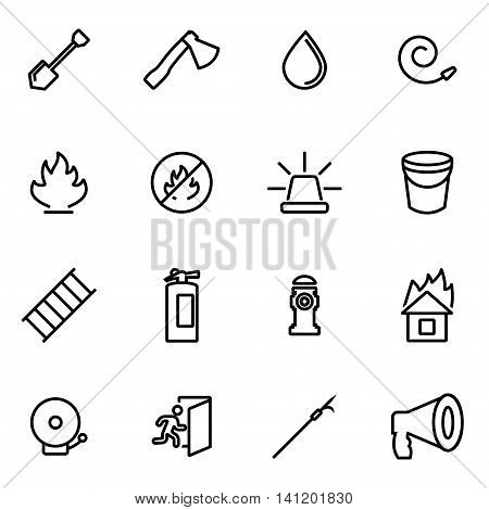 Vector line firefighter icon set on white background