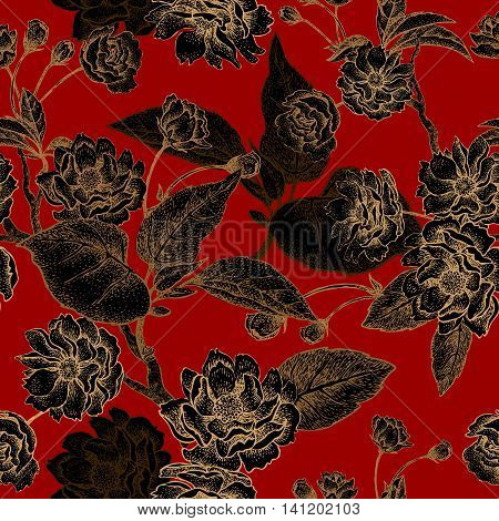 Vector seamless pattern with flower Chinese plum. Floral pattern with leaves flowers and branches of the tree Chinese plum. Design paper wallpaper and fabrics. Black red gold.