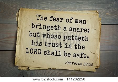 Top 500 Bible verses. The fear of man bringeth a snare: but whoso putteth his trust in the LORD shall be safe. 