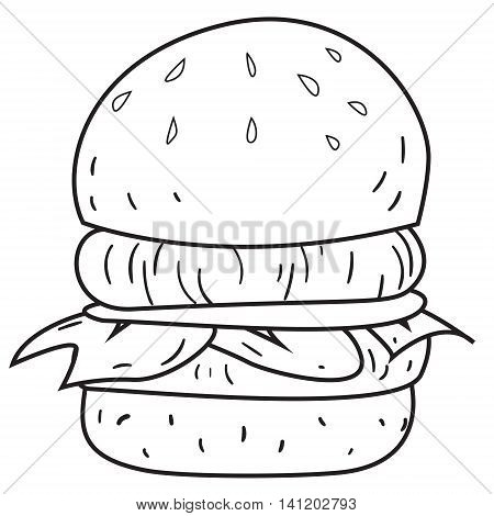 Vector illustration of big burger in black and white outlined doodle style