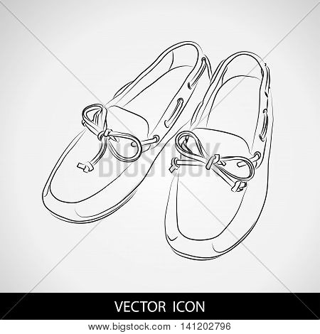 Silhouette of shoes on a gray background. Moccasins. Vector illustration