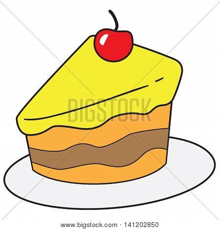 Vector illustration of cake slice in colored doodle style