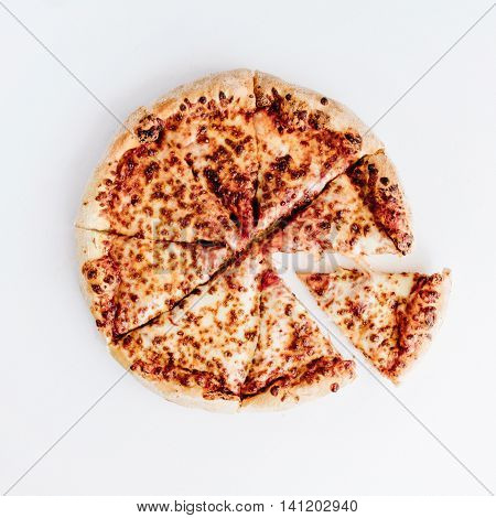 flat lay margherita pizza isolated on white