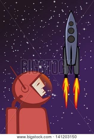 Vector illustration of heroic astronaut in red spacesuit and flying space rocket. EPS10 file.