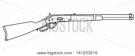 A typical wild west rifle isolated on a white background.