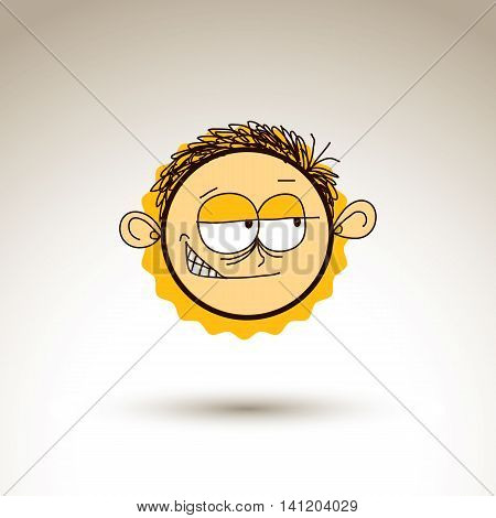 Vector hand drawn cartoon tricky boy. Web avatar theme graphic design element isolated on white.