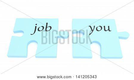 Puzzle Pieces: A Job For You 3d illustration