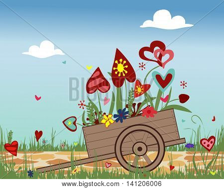 Flower arrangement of colorful hearts in a hand cart. Illustration symbolizing joy, love and happiness. Ideal for greeting cards. Horizontal location. Vector.