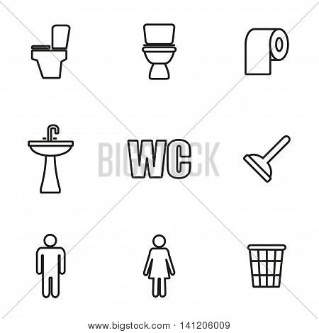 Vector line toilet icon set on white background