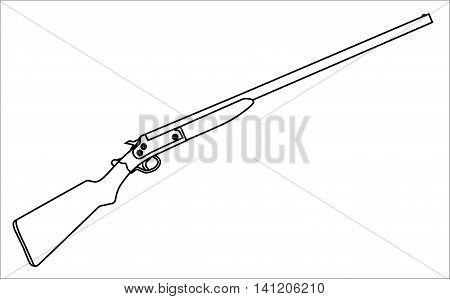 A typical 12 guage shotgun over a white background