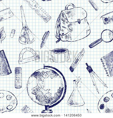 Seamless vector pattern with topic of education. School objects globe backpack pen pencil eraser magnifier flask notebook scissors protractor glue compass ruler palette. Black white.