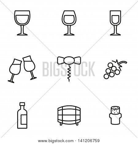 Vector line wine icon set on white background