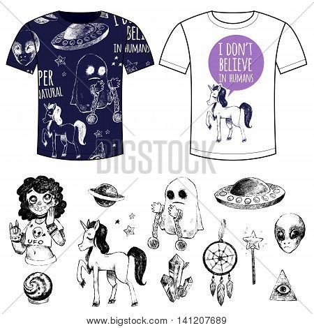 Flying saucer alien ghost unicorn Dreamcatcher crystal ball magic wand girl couple T-shirts with printing. Set vector illustrations sketches doodles. Supernatural and magic. Black and white.