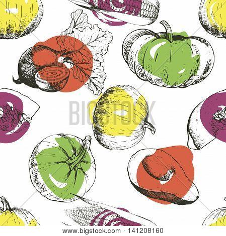 Vector seamless patern of vegetables. Pumpkin corn beetroot avocado. Hand drawn engraved vintage illustration. Good for Thanksgivig and Halloween celebration. Autumn harvest.