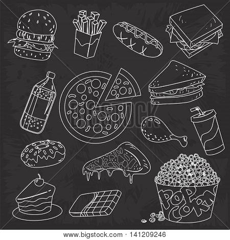 Vector illustration of fast foods chalk drawing doodle on blackboard
